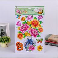 Tranh dán tường 3D Bình hoa thủ công trang trí nhà cửa phòng khách phòng ngủ (Tặng dây cột tóc hoa mặt trời) thumbnail