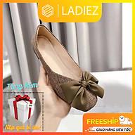 Giày Búp Bê Thời Trang Cao Cấp Ladiez Dép Sục Nữ Chất Liệu Vải Dạ Êm Chân Thắt Nơ Đế Bệt Xinh Xắn Siêu Đẹp thumbnail