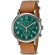 Timex Unisex TWC066500 Weekender Chrono Green Tan Double-Layered Leather Slip-Thru Strap Watch thumbnail