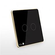 Công tắc cảm ứng vuông 2 nút nguồn 1 dây Lumi LM-S2L - Đen thumbnail