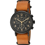 Timex Unisex TW2P97500 Weekender Chrono Tan Leather Slip-Thru Strap Watch thumbnail