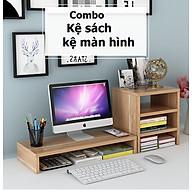 Kệ Để Màn Hình Và Kệ Sách Để Bàn 3 Tầng Màu Gỗ Cho Văn Phòng thumbnail