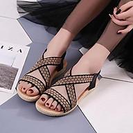 Giày sandal nữ quai chéo thêu hoa thổ cẩm - LN226 thumbnail