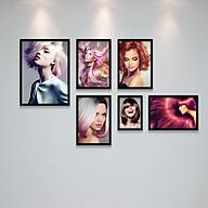 Bộ Khung Ảnh Treo Tường Trang Trí Salon Tóc Nữ, Khung Hình Treo Tiệm Làm Tóc Đẹp Tặng Kèm bộ ảnh như hình mẫu, đinh treo tranh và sơ đồ treo PGC296 thumbnail