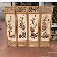 bình phong khung gỗ mẫu mới nền mành tranh tứ bình tứ quý 180x200 AT008 thumbnail