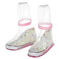 Ủng bọc giày đi mưa đế cao su chống trượt - Màu hồng thumbnail