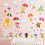 Decal dán tường trang trí phòng ngủ, lớp mầm non- Gấu đu ô- mã sp DXL8217 thumbnail