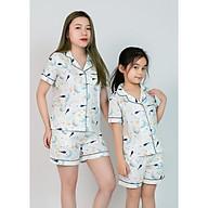 Đồ pijama mặc nhà mẹ và bé màu trắng hình trăng sao thumbnail