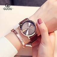 Đồng hồ đeo tay nữ chính hãng Guou dây da mặt vuông đẹp viền vàng chống nước 8171 thumbnail