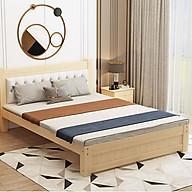 Giường gỗ thông hiện đại 1m8 x 2m tựa lưng da thumbnail