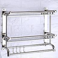 Kệ inox, giá inox dán tường 2 tầng có móc treo 40cm RE0160 thumbnail