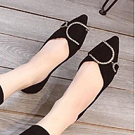 Giày Nữ Bệt Đen Khoá D Da Lộn Mũi Nhọn thumbnail