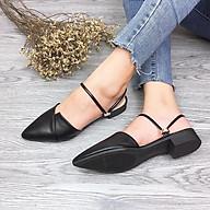 Giày nữ dáng sục mũi nhọn đế vuông 2cm màu đen C18 đi được nhiều thumbnail