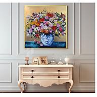 Tranh treo tường vuông LỌ HOA SẮC MÀU, phong cách CỔ ĐIỂN, sang trọng, phong cách sơn dầu,in canvas , kèm khung siêu nhẹ PVP-DC1V11 thumbnail