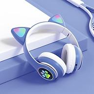 Tai nghe bluetooth chụp tai cute dễ thương, Headphone có đèn led 7 màu nhấp nháy, Tai mèo có thể tắt đèn thumbnail