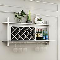 Kệ để rượu vang treo tường bằng gỗ, kệ để rượu vang kèm giá treo ly thumbnail