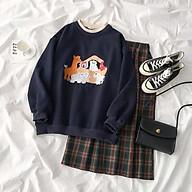 set áo nỉ sweater màu xanh than kèm chân váy chân váy chữ A dáng dài ulzzang hàn quốc thumbnail
