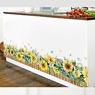 Decal dán tường chất liệu PVC loại 1 dày dặn, sắc nét, không phai- chân tường hàng rào hướng dương-mã sp QR9117 thumbnail