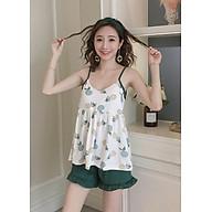 Bộ mặc nhà áo 2 dây quần cộc hình dứa Đũi Việt DV23 thumbnail
