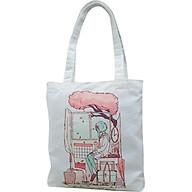Túi tote vải canvas, túi vải tote nữ đeo vai, túi tote TROY TCV2-M1 in hình cô gái ngồi bên cửa sổ thumbnail