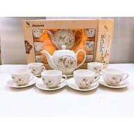 Bộ ấm chén pha trà kèm 7 đĩa CAMELLIA họa tiết hoa dây bạc sang trọng - ANTH240 thumbnail