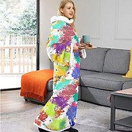 Wearable Sherpa Blanket with Sleeves and Pocket Fleece Robe for Adults Warm Pajamas Homewear thumbnail