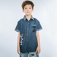 Áo Sơ Mi Jeans Tay Ngắn Bé Trai V.T.A.Kids 19012068 - Xanh Jean Đậm thumbnail