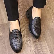 Giày Lười Da Nam - Da Bò Nguyên Tấm 100%, Đế Cao Su Tổng Hợp Cao 3cm- Mã X091 Đen Hàng Việt Nam thumbnail