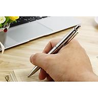Bút Bi Ngòi Bấm Nét 0.7mm Mực Xanh Vỏ Kim Loại BP037 Thanh cài Vàng thumbnail