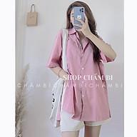 Áo sơ mi form rộng A.236, Áo sơ mi túi ngực xẻ tà cách điệu style Hàn Quốc 3 màu cực xinh thumbnail