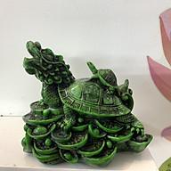 Tượng đá long quy cõng rùa con (Rùa đầu rồng) trang trí phong thủy - Cao 10cm - Màu Xanh Lục Bích thumbnail