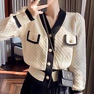 Áo khoác len cadigan nữ dày vân nổi hình trám cúc nhựa to túi ngực thumbnail