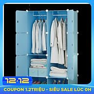 Tủ quần áo nhựa lắp ghép màu xanh dương nhạt sang trọng thumbnail