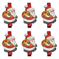 Bộ 6 Kẹp Ảnh Gỗ Trang Trí Giáng Sinh - Ông Già Noel Đeo Túi Quà thumbnail