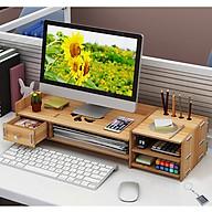 Kệ máy tính kệ sách kệ hồ sơ để bàn kèm cắm viết bằng gỗ 2 mẫu MỚI - Tặng kèm móc khóa khung hình thời trang thumbnail