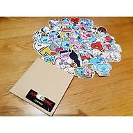 Bộ 50 Sticker (nhãn dán) BT21 - dán nón bảo hiểm, ghi-ta - siêu chất, cool ngầu, dễ thương. thumbnail