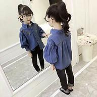 Sơ mi 35 đến 45 kg denim jean tay phồng thêu hoa Quảng Châu cho bé gái 01549 thumbnail