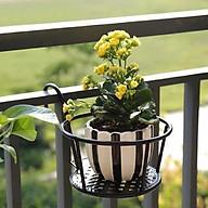 Giá kim loại để chậu hoa, cây cảnh mini có móc treo ban công tiện lợi - ĐEN thumbnail