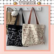 Túi Tote Vải Canvas Đeo Vai Size Lớn In Họa Tiết Mèo Siêu Đáng Yêu thumbnail