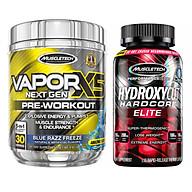 Combo Pre Workout tăng sức bền, sức mạnh Vapor X5 hương Blue Razz hộp 30 serving và viên đốt mỡ, giảm cân Hydroxycut Hardcore Elite hộp 110 viên thumbnail