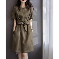 Đầm linen dáng xòe tay cộc trẻ trung ArcticHunter, thời trang thương hiệu chính hãng - Xanh rêu thumbnail