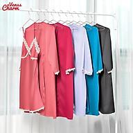 Set Lụa Choàng Váy 2 Dây Viền Ren Vàng Nhã Nhặn, Nhẹ Mát thumbnail