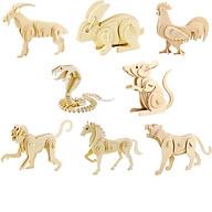 Xếp hình gỗ 3D mô hình động vật, đồ chơi lắp ráp mô hình 3D bằng gỗ hình các loài vật chuột, ngựa.. thumbnail