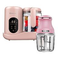 Máy xay hấp nghiền thức ăn, hâm sữa cho bé đa năng 7in1 tặng kèm máy xay đa nang nhỏ (hồng) - hàng chính hảng thumbnail