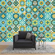 Decal siêu dính Decal gạch bông tông xanh cổ điển WD142 thumbnail