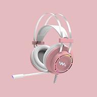 Tai Nghe Gaming Wangming 9800s Pink (Màu Hồng) Âm Thanh 7.1 USB LED - Hàng Nhập Khẩu thumbnail