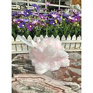 Tượng Cóc Ba Chân, Cóc Ngậm Tiền, Thiềm Thừ phong thủy chiêu tài lộc đá thạch anh hồng - Dài 15 cm thumbnail
