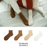 Set hộp 4 đôi tất nữ cổ cao chất liệu cotton cao cấp,họa tiết gam nâu trơn chuyển màu cute dễ thương, hàng chính hãng NICESOKS - hộp đẹp cao cấp phù hợp làm quà tặng - NS19183FL-3 thumbnail