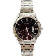 Đồng hồ Nam SKM 9069 dây trắng mặt đen (Tặng pin Nhật sẵn trong đồng hồ + Móc Khóa gỗ Đồng hồ 888 y hình + Hộp Chính Hãng) thumbnail
