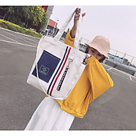Túi tote vải kẻ sọc thời trang có khoá trẻ trung cá tính HY00305 thumbnail